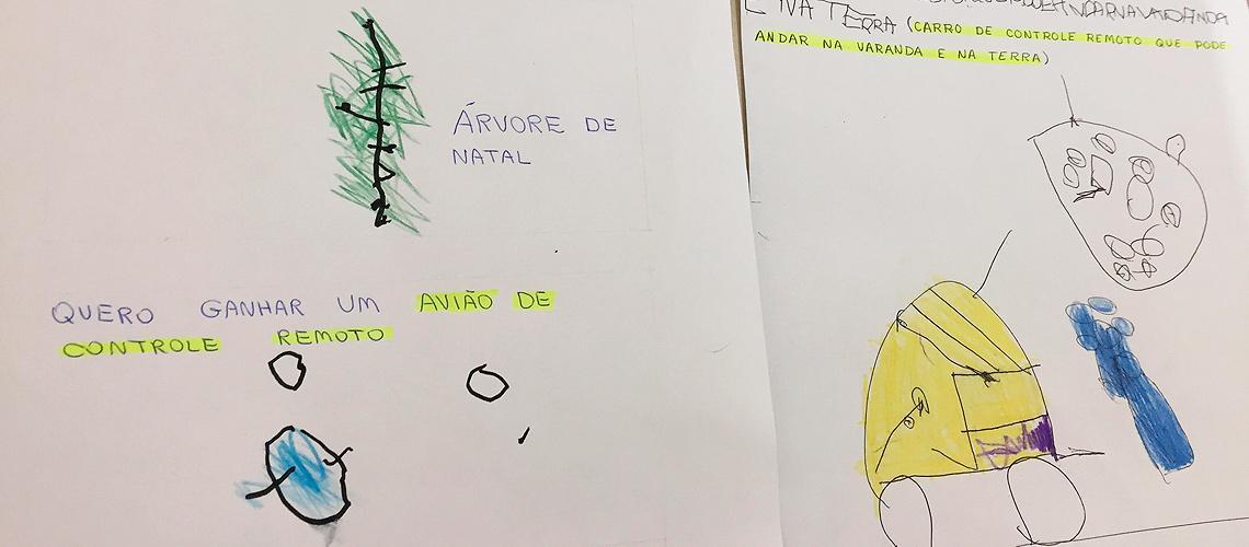 Crianças escreveram e desenharam o que gostariam de ganhar - Reprodução