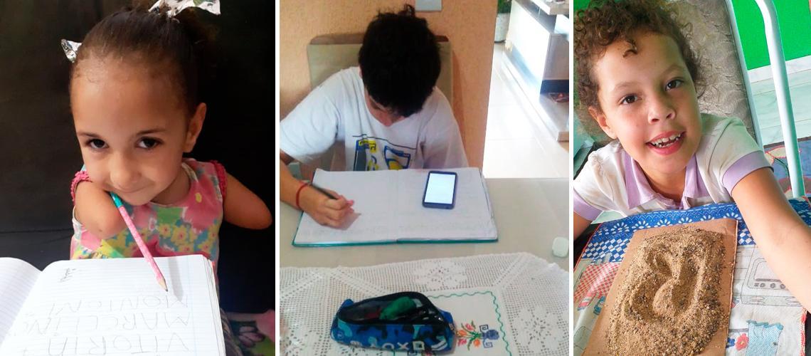 A partir da esquerda: Maria Vitória, Kaio e Rafaela desenvolvem atividades adaptadas para suas necessidades - Arquivo pessoal