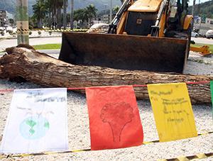 Tronco e restroescavadeira simbolizam o desmatamento - Ascom/PMVNI